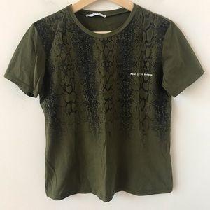 Zara snake print green t shirt